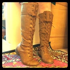 Rocket Dog Knee High Lace Up Boots